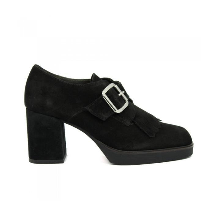 BRYAN FOOTWEART Chaussures Mocassins À Boucle - Talon - Daim - Noir - Taille - Trente-sept Femme Ref. 2102_20679