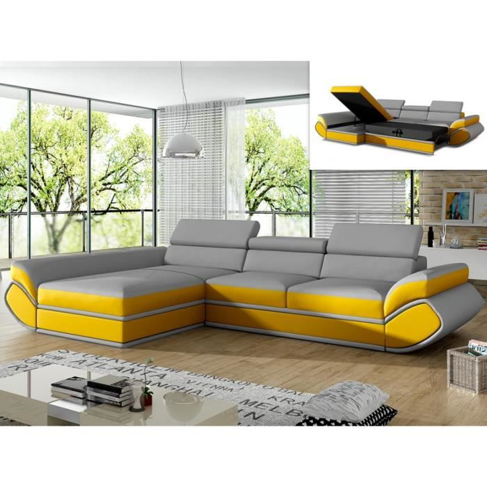 Canapé sofa divan canapé dangle convertible en simili orleans gri