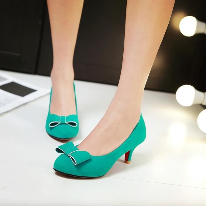 talons hauts-Pure Color Thin Heel Low Heel Femmes bowknot Pompes