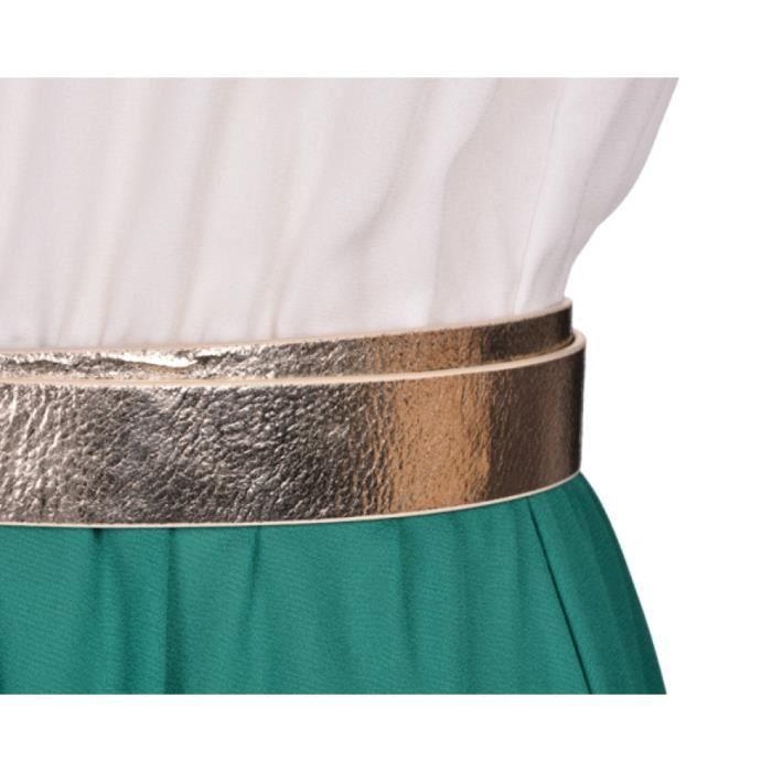 Robe femme Finejo en mousseline col rond sans manches contraste Long avec ceinture