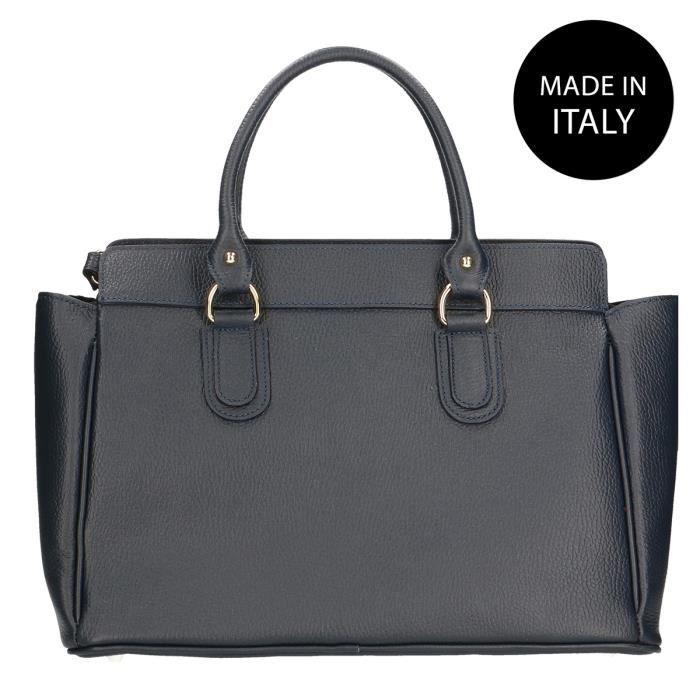 CHICCA BORSE Sac à Main élégant pour Femme avec bandoulière intérieur, véritable cuir made in Italy bleu 40x27x18 Cm