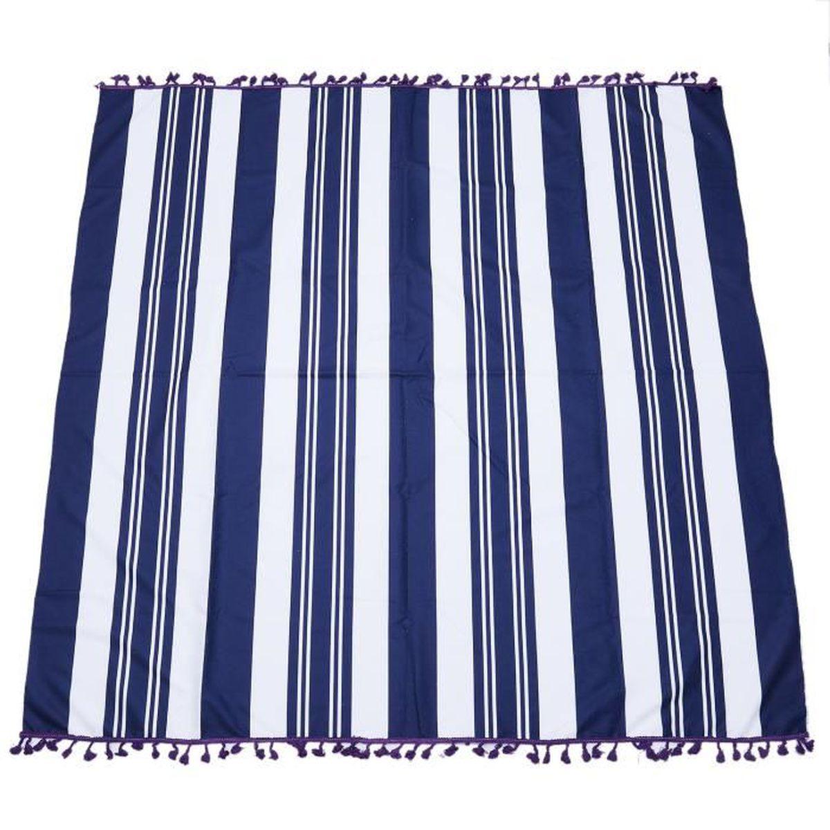 Tapis de yoga de corps de serviette de plage de rayure fine bleue et ...