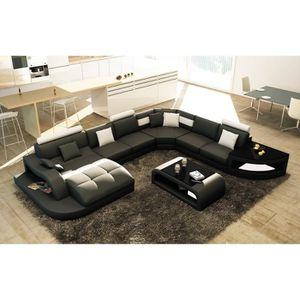 CANAPÉ - SOFA - DIVAN Canapé d'angle design panoramique noir et blanc IS