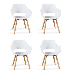 FAUTEUIL Lot de 4 fauteuils scandinaves blancs - Treia