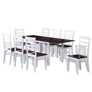 Table Extensible 8 Chaises En Bois Massif Marron Blanc Design