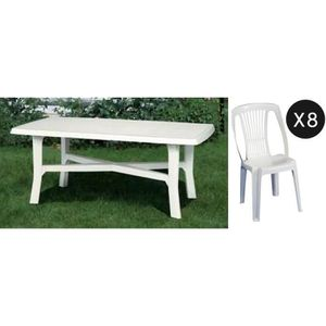 Salon jardin en plastique blanc table + 8 chaises - Achat / Vente ...
