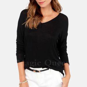 dff6fc83c3d91 long T-shirt femme de contraste noeud papillon sans dos manches longues encolure  ras du cou