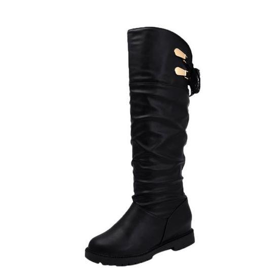 Femme Souple Bottes Confortable Chaussures Cuir Longues Cuissardes En Noir TK1FJc3l