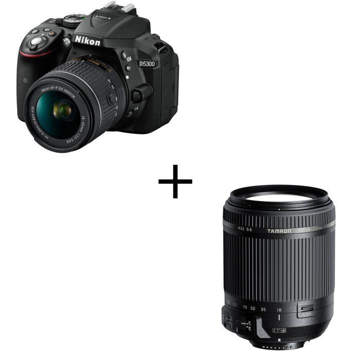NIKON D5300 Appareil photo reflex avec objectif - Noir + AF-P 18-55VR + TAMRON 18-200 mm F/3.5-6.3 Di II VC NIKON