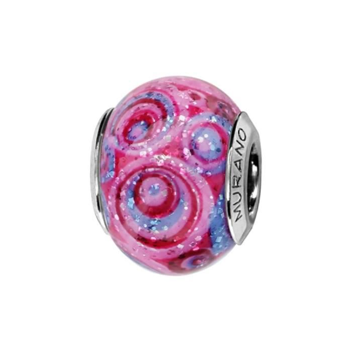 Charms Argent 925 Perle Murano Rose Spirale