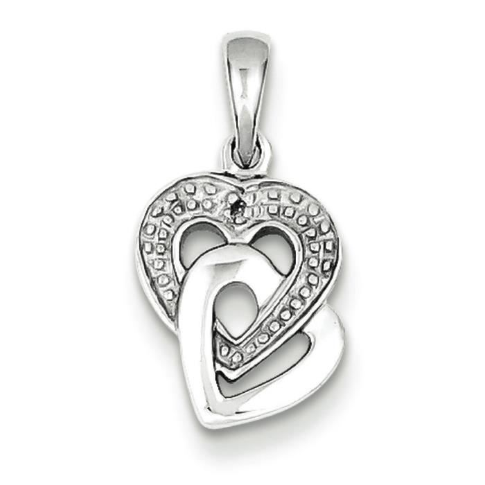 Argent Sterling diamant Accent bruts-Pendentif Coeur
