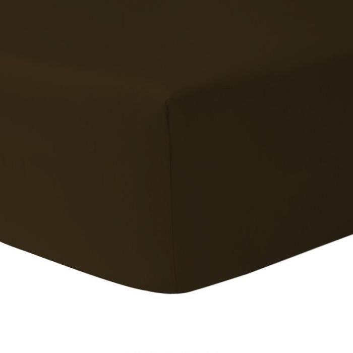 DUBLANC Drap Housse 90x190cm CHOCOLAT.   Achat / Vente drap housse