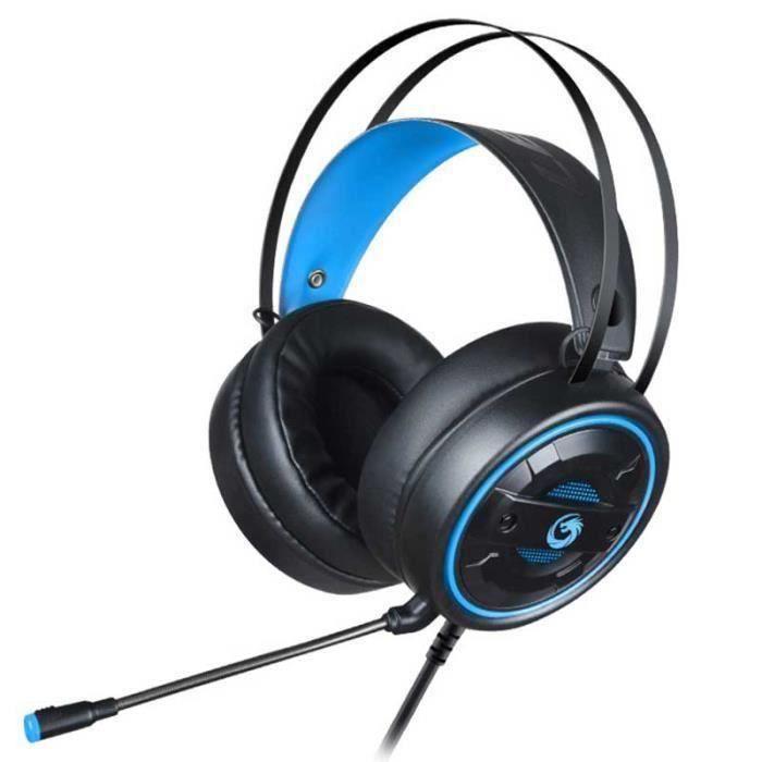 Casque Gamer Filaire Luminieux Usb 3.5mm Pour Ordinateur Portable Pc Bleu Lb229