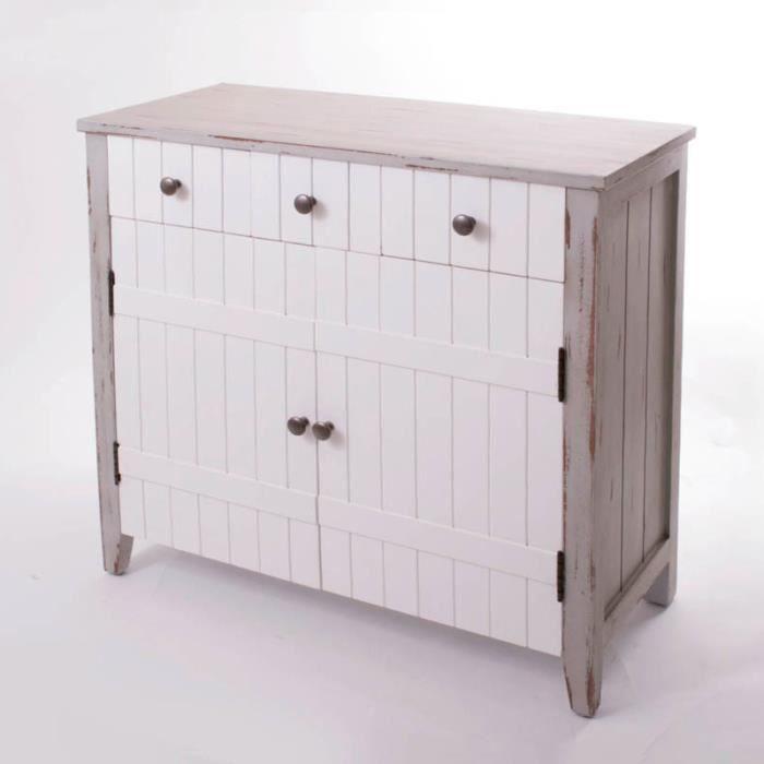 Buffet bas 2 portes 3 tiroirs en pin Longueur 80 cm INDIGO - Achat ...