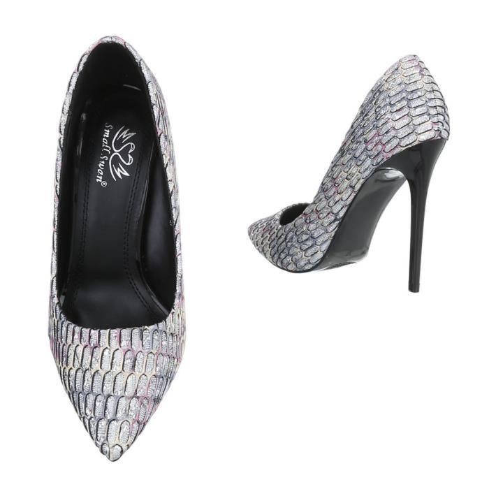 Chaussures femme escarpin High Heels noir gris 37 WLDEQPL