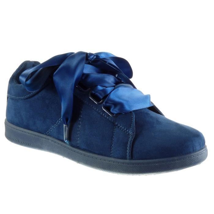 Satin 2 Bleu Plat Cm Baskets Mode Talon Lacet Ruban AngkorlyChaussure T Oh007 Semelle 41 Basket Femme QdBWoExrCe