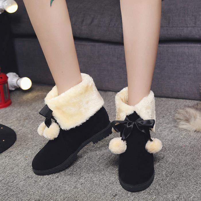 Bottines en boule de cheval Bottes de cheville d'hiver Chaussures pour femmes Bottes Chaussures de mode noir U0hJ3OdU