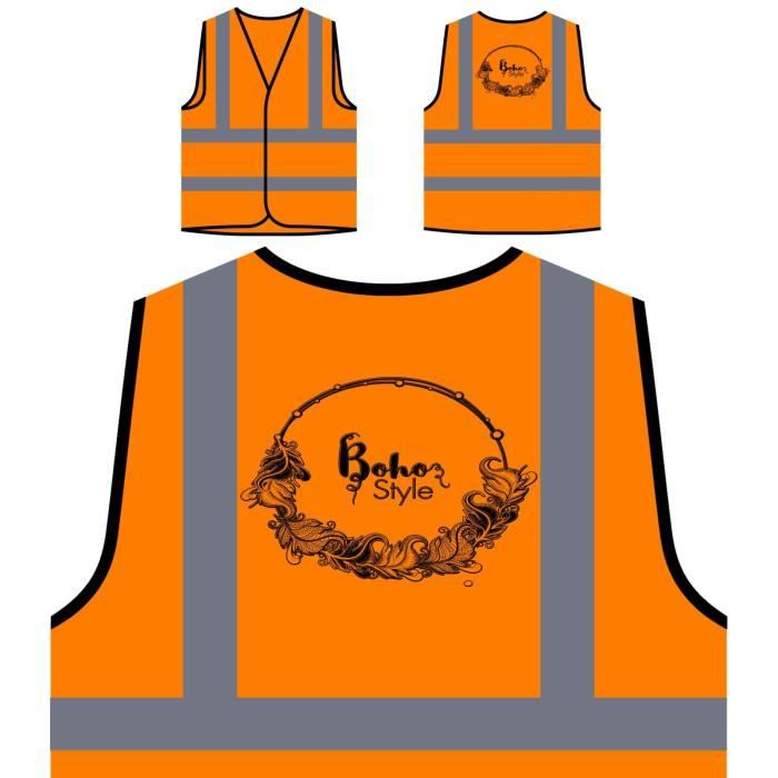 Frame À Personnal Style Protection Beautiful De Nouveau Orange Haute boho Visibilité Personnalisée Veste n7gOvpn