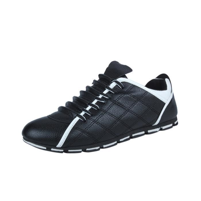 Mode Nouveau Respirant Hommes Chaussures WE811 Cuir Plates Sneakers Style Casual Noir Confortable T5U5axAq7