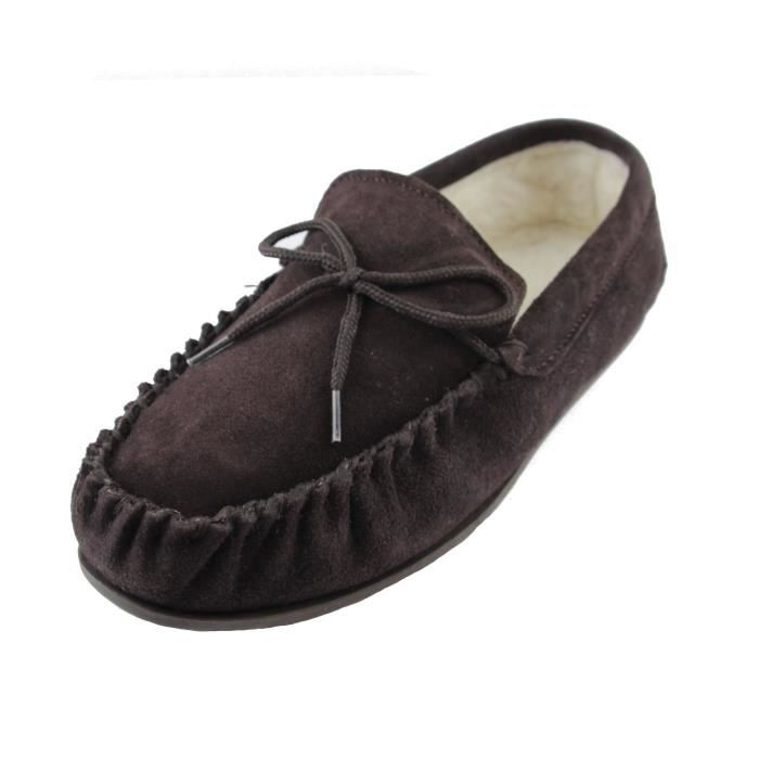 Deluxe Ladies Sheepskin Wool Moccasin Slippers With Hard Sole - Suede Upper TBZN5 Taille-37 6NPjIo7Q7K