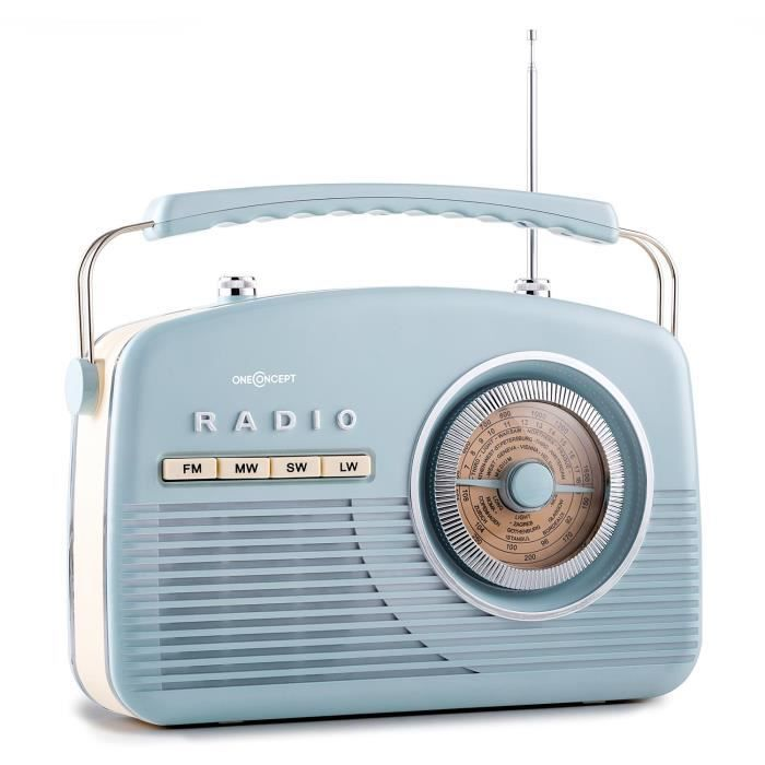 oneconcept nr 12 radio portable fm am r tro fifties bleu. Black Bedroom Furniture Sets. Home Design Ideas