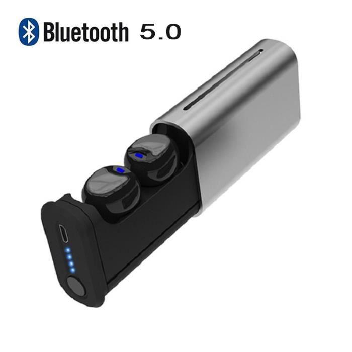 Wotumeo® Bluetooth 5.0 Écouteurs Vrai Tws Sans Fil Casque Sport Audifonos Auriculaire Mains Libres -argent