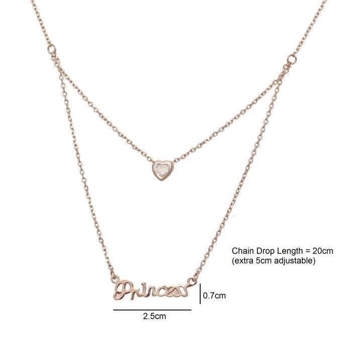 Womens Love Bling Princess Layered Pendant Necklace-chain For &A9I3P