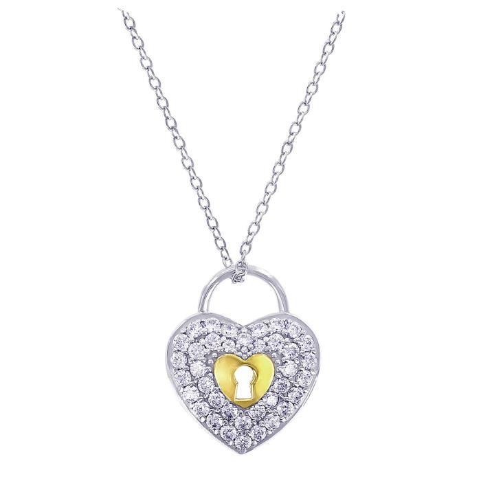 Jewel Panda Platinum-plaqué St Argent Diamants Simulations Verrouiller collier pendentif coeur 2-Tone