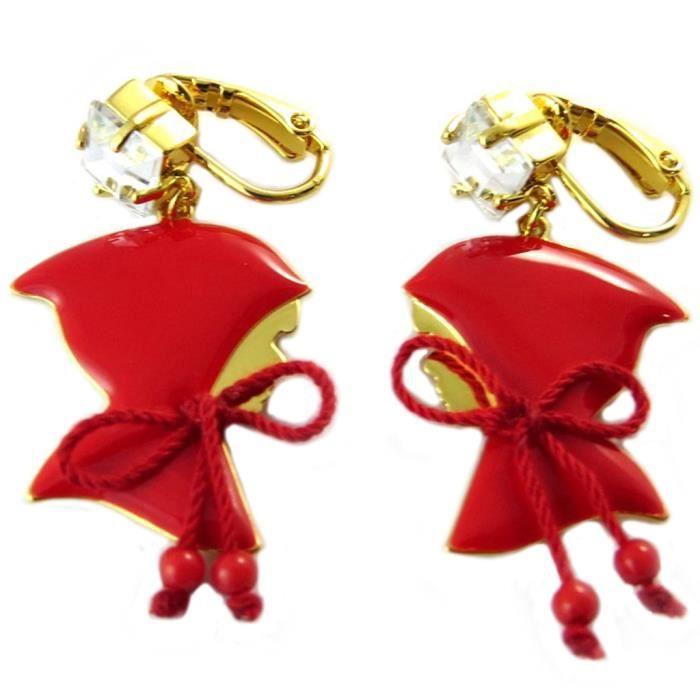 Boucles doreilles clips artisanales Monde Merveilleux (Chaperon rouge) rouge doré - 47x20 mm [P2018]