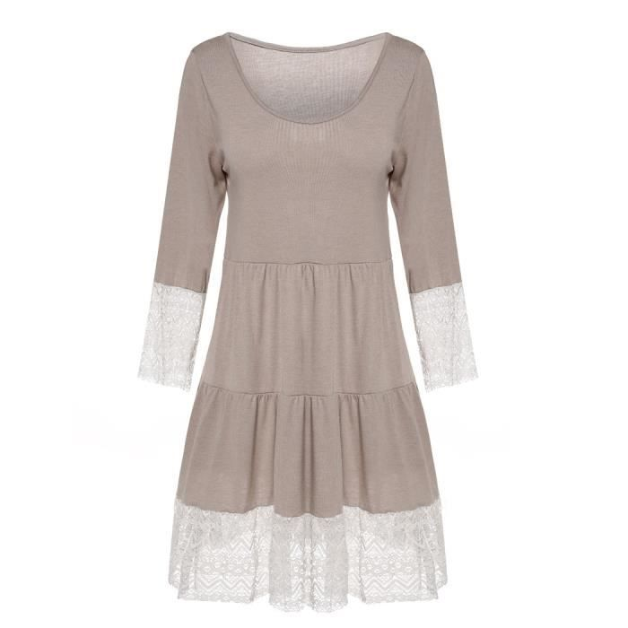 Robe femme Finejo manches 3-4 taille haute dent...