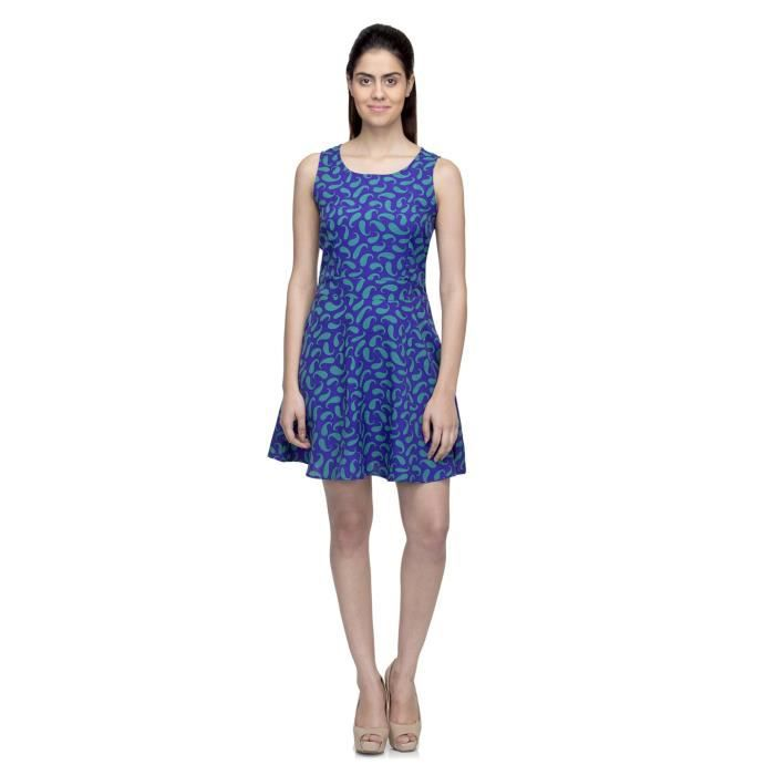 Womens Printed Poly Crepe Dress D7O50 Taille-38