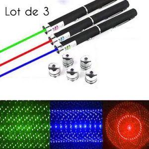 POINTEUR 3 Pointeur Laser 6 en 1 Vert Rouge Bleu/Violet