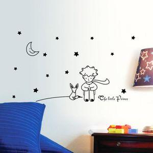 OBJET DÉCORATION MURALE NOIR Sticker Mural Amovible Étanche Étoiles Lune L