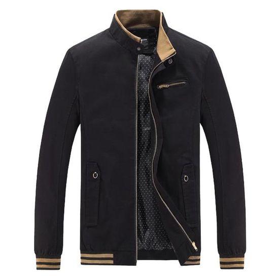 Tops D'hiver Slim Trench Outwear Noir Zipper Les Hommes Long Veste Chemisier Chaud Pardessus 51xXvqYn