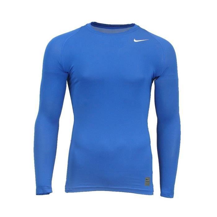 NIKE Haut d'entrainement compression Manches longues - Homme - Bleu Roi