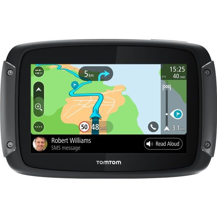 "TomTom Rider 50 - GPS moto 4,3"", cartographie Europe 24, Wi-Fi intégré, lecture des messages."