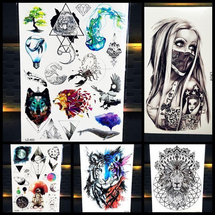 5 Morceaux Femmes Temporaires Tatouage Autocollant Bras Aquarelle