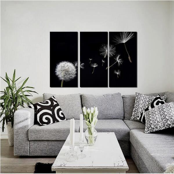 Fleur De Pissenlit En Noir Et Blanc Decoration Toile Peintures