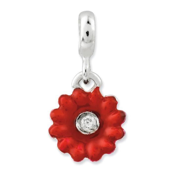 En argent Sterling 925 avec zircones cubiques émaillé Rouge Fleur-Charm