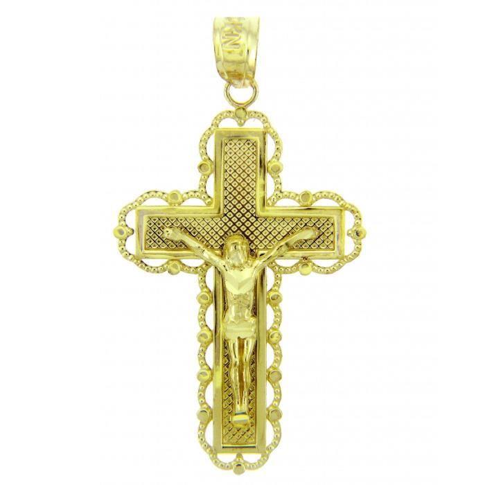 Collier Pendentif14 ct 585/1000 Croix en or Jaunela croyance crucifix