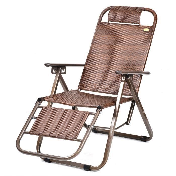 Fauteuil pliable jardin haut dossier rotin chaise plage pêche bureau ...