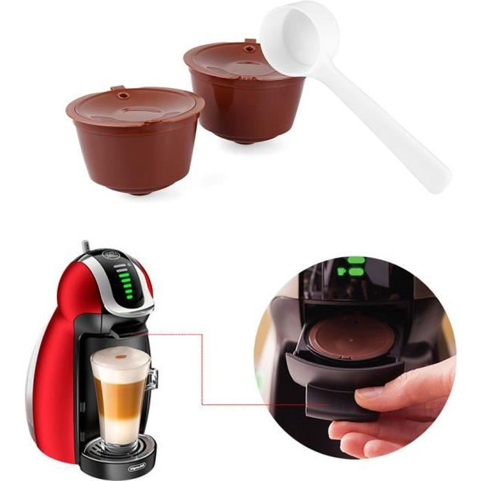 Compatibles Capsules Café GenioPiccolo Dolce Avec Réutilisables Gusto De 2 Rechargeables Nescafé PkZiXuTO