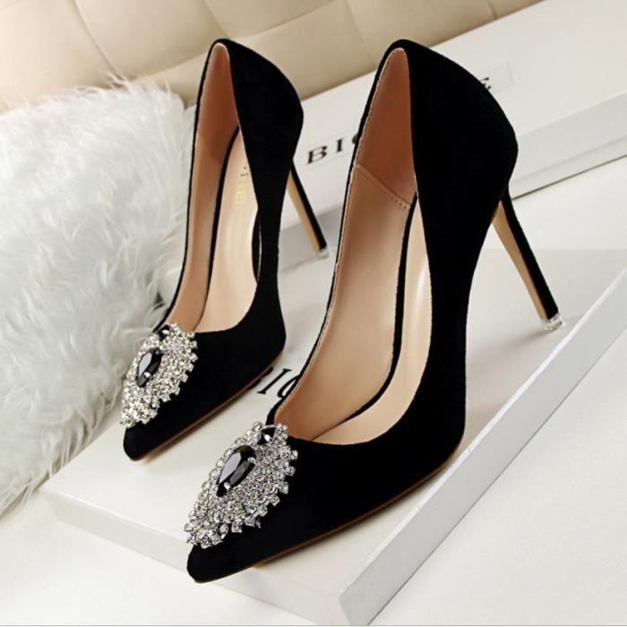 8e7f986f4d6 Elégant diamant bijou suède de luxe Chaussures Sexy Noir Noir ...