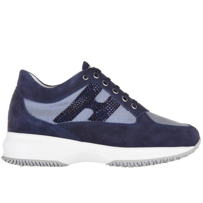 Chaussures baskets sneakers femme en daim interactive h strass Hogan