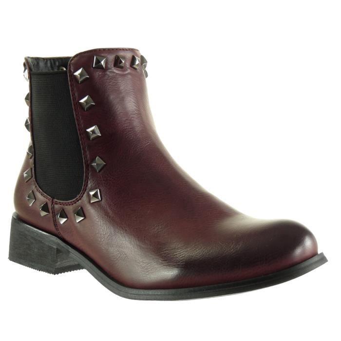 Angkorly - Chaussure Mode Bottine chelsea boots cavalier effet vieilli femme clouté Talon haut bloc 3.5 CM - Intérieur Fourrée - AY4vsCw0RH