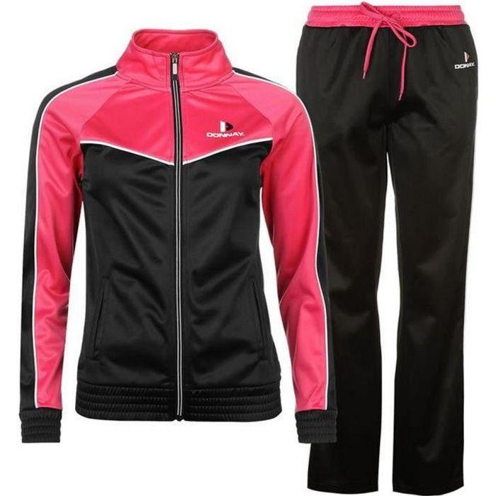 Jogging Donnay Femme Noir et Rose Noir Noir - Achat   Vente ... dc1034e265a