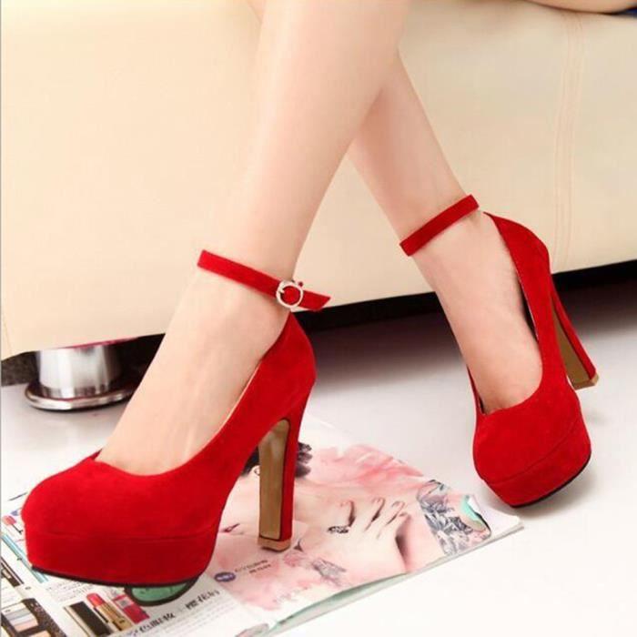 Hotskynie®Mode cheville talons hauts sandales de mariage pompes plate-forme pour femmes Rouge*SJF71226732RD WUulxD