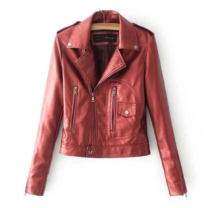 861c65115aa59 Veste simili cuir rouge - Achat / Vente pas cher
