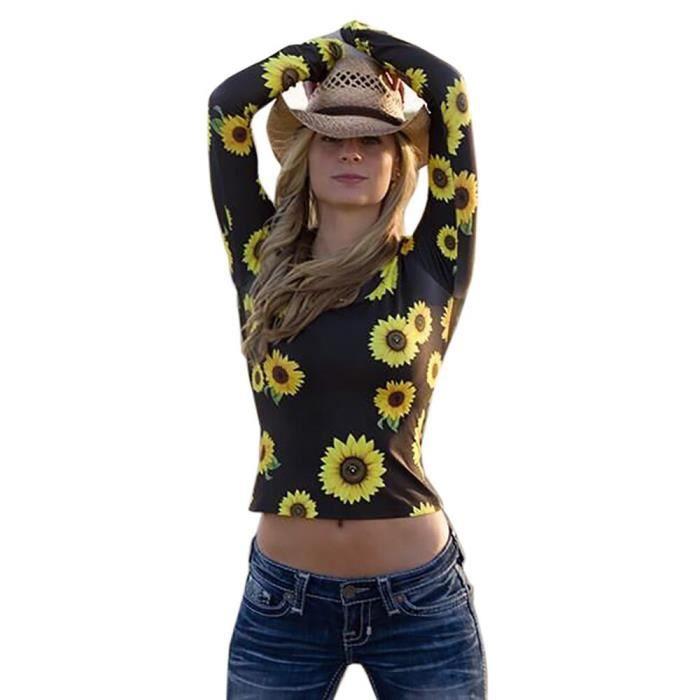 shirt T Longues Femme Décontracté Manches Noir Tournesol neck O À Chemisier Hauts Mode q8OBwzw