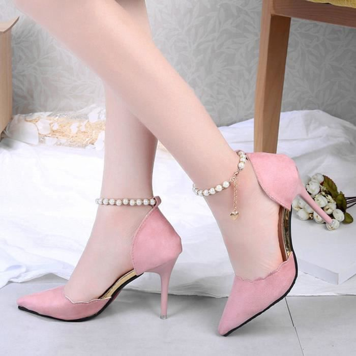 ESCARPIN Mode femmes perles Sandales cheville à hauts talon